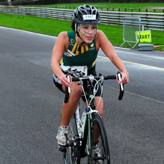 Leona's first multisport event was the BUCS Duathlon last November at Castle Combe. Here she is looking serious on the bike at that event.