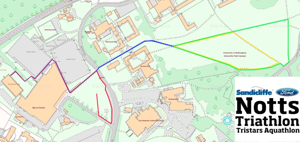 2019 Notts TriStars Aquathlon Course Map (anticlockwise)