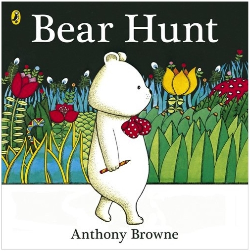 1979  One day Bear goes for a walk in the jungle. Unfortunately, he is not alone. Two eager hunters have spotted him. Look out, Bear!   The hunters try to capture him with a butterfly net, a lasso, even a riffle... but Bear's magic pencil comes to the rescue. What a clever Bear.
