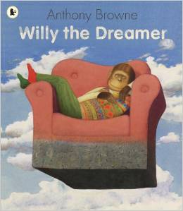 1997 This is a stunning Willy book with spectacular, surreal paintings - by one of the most acclaimed of all picture book artists. Willy loves to dream. He dreams that he's a film star, a sumo wrestler, a ballet dancer, a painter, an explorer, a famous writer, a scuba diver...Sometimes he dreams that he can't run but he can fly. He dreams he's a giant or he's tiny, a beggar or a king, in a strange landscape or all at sea. He dreams of fierce monsters and super heroes, of the past and, sometimes, the future. Willy's dreamland is a gallery of amazing and magical pictures, each one magnificently executed and packed with bananas and slyly surreal details that cannot fail to intrigue and delight. The pictures pay homage to famous paintings by the likes of Dali, Magritte and Henri Rousseau, as well as film and book characters and much more.