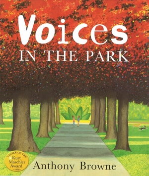 1998   Four different voices tell their own versions of the same walk in the park. The radically different perspectives give a fascinating depth to this simple story which explores many of the author's   key themes, such as alienation, friendship and the bizarre amid the mundane. Anthony Browne's world-renowned artwork is full of expressive gorillas and vibrant colours.    Winner of the   Kurt Maschler Award.