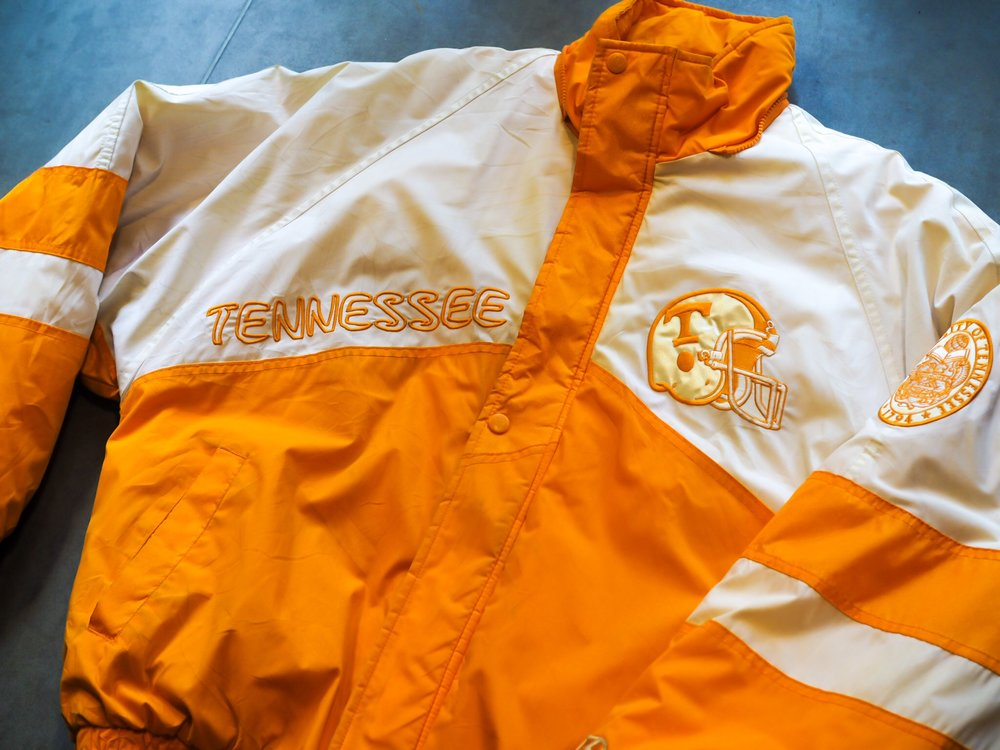 A 1990s Pro Player Tennessee Vols Football Jacket, this extra special number is nothing but bold.