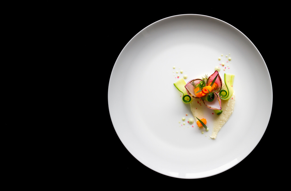 Pickled carrot, caramelized onion , cucumber and Mascarpone