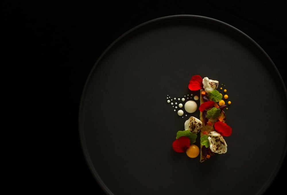 Saute celeriac, fermented carrots, beetroot stalks, carrot puree and creme fraiche