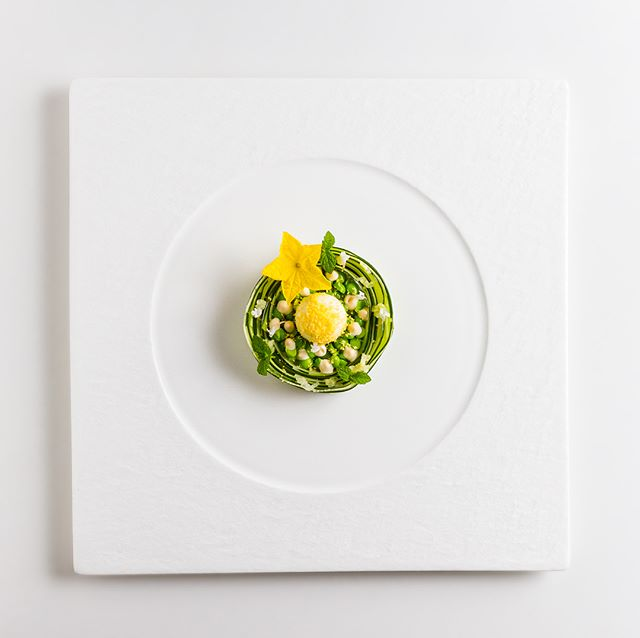 Cucumber, Miso-Mayonnaise, Cream Cheese,  Peas and Cured Egg Yolk 🥒🥚