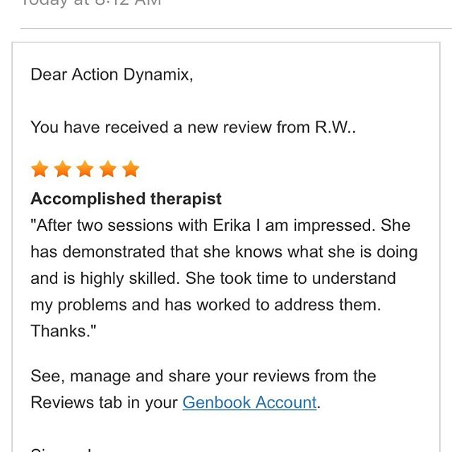 We 💜getting reviews! Your feedback and referrals are our greatest compliment. Today I'm proud of the years of curiosity, experience, learning, failing- and succeeding that has lead me to a place where I can truly help people (some with issues that would limit their daily lives) regain ease of movement. Thank you 🙏🏽 clients and friends of Action Dynamix. Because of you we truly love what we do.  #massagetherapy #inbend #medicalmassage #bendthrives #oldmilldistrict #boxfactorybend