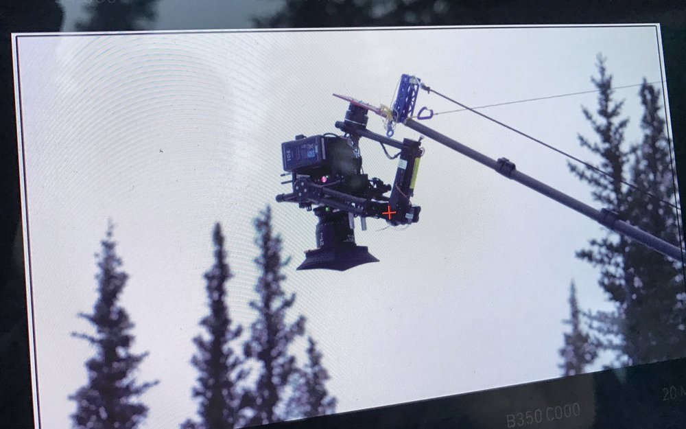 The Feather Crane Plus with Gremsy H16 gimbal, Alexa Mini and Panavision Primo70 lens on Tin Star's final scene on location in the Canadian Rockies, December 2016