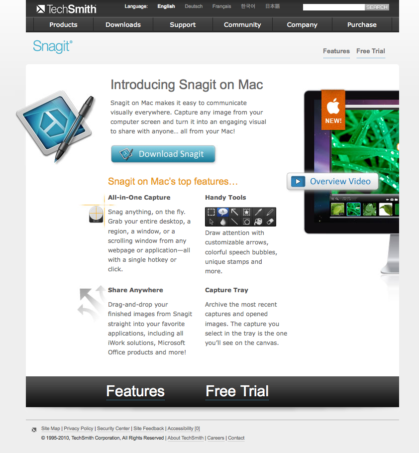 Snagit for Mac Landing Page