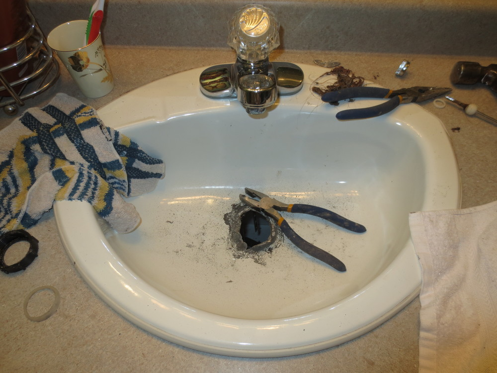 Here it is. The aftermath. We have been brushing our teeth in the tub...