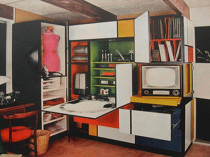 Superior 1960s Interior Design Desk Flip