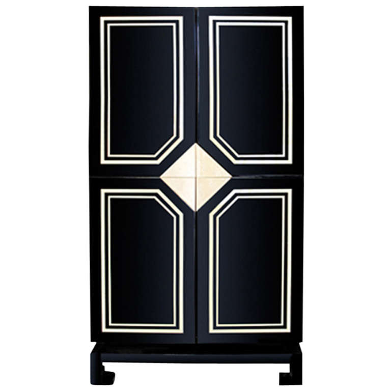 1970's Black Lacquer Cabinet with Bone Inlay