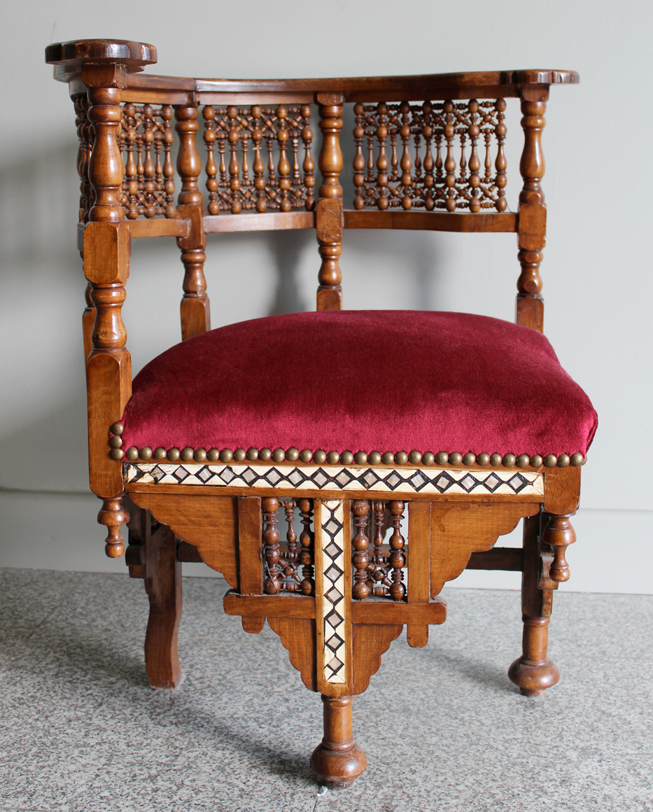 Mahogany and Bone Inlay Corner Seat