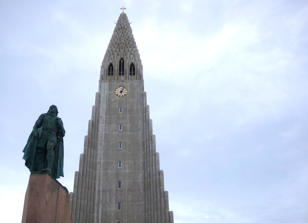 Leif Erikson statue in front of the Cathedral