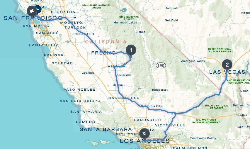 San Francisco - Sequoia National Park - Las Vegas - Los angeles - 17h drive, 958 miles -  Roadtrippers