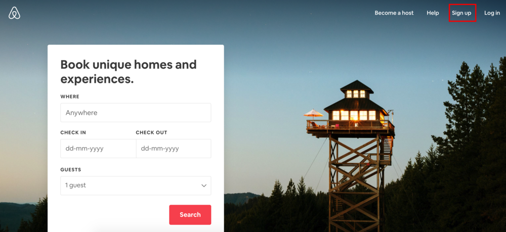 airbnb sign up create your account