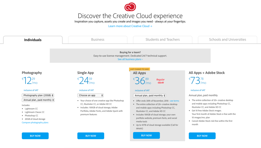 Adobe Creative Cloud Price Plans
