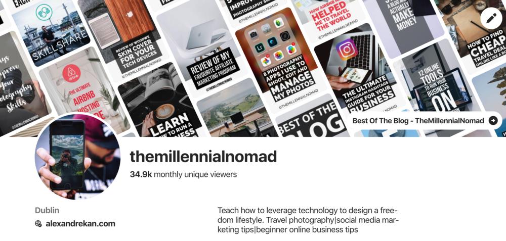 Pinterest Profile - TheMillennialNomad
