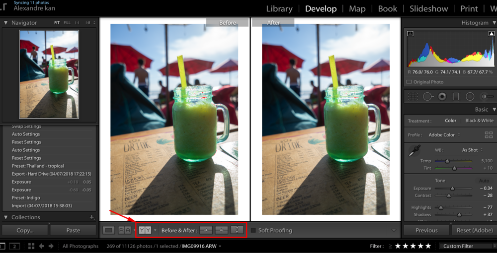 before after shortcut Lightroom