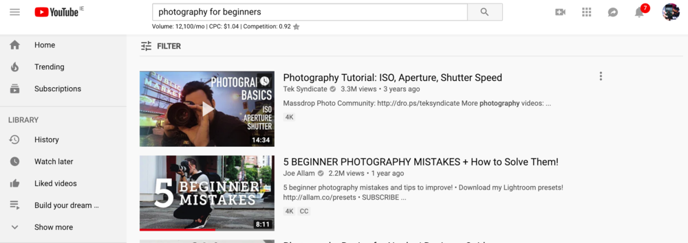 Youtube, photography for beginners - themillennialnomad