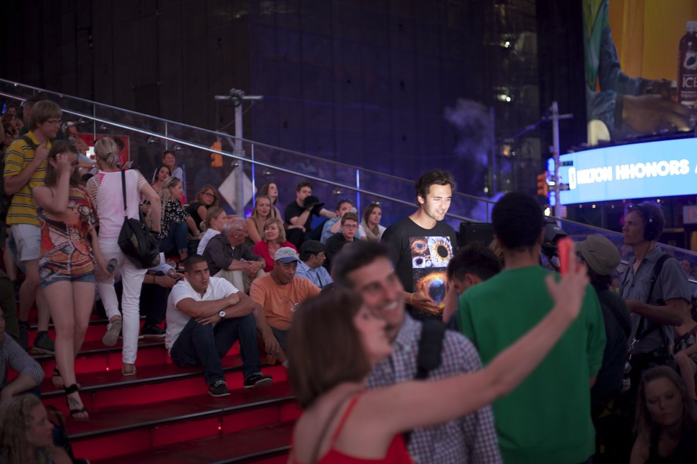 Featured, filming with Jason Silva for National Geographic, Times Square, New York City NY, July 2015