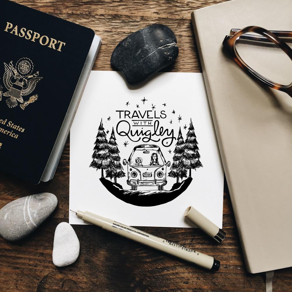 Travels With Quigley: Illustrative Logo | Branding | Sea of Atlas