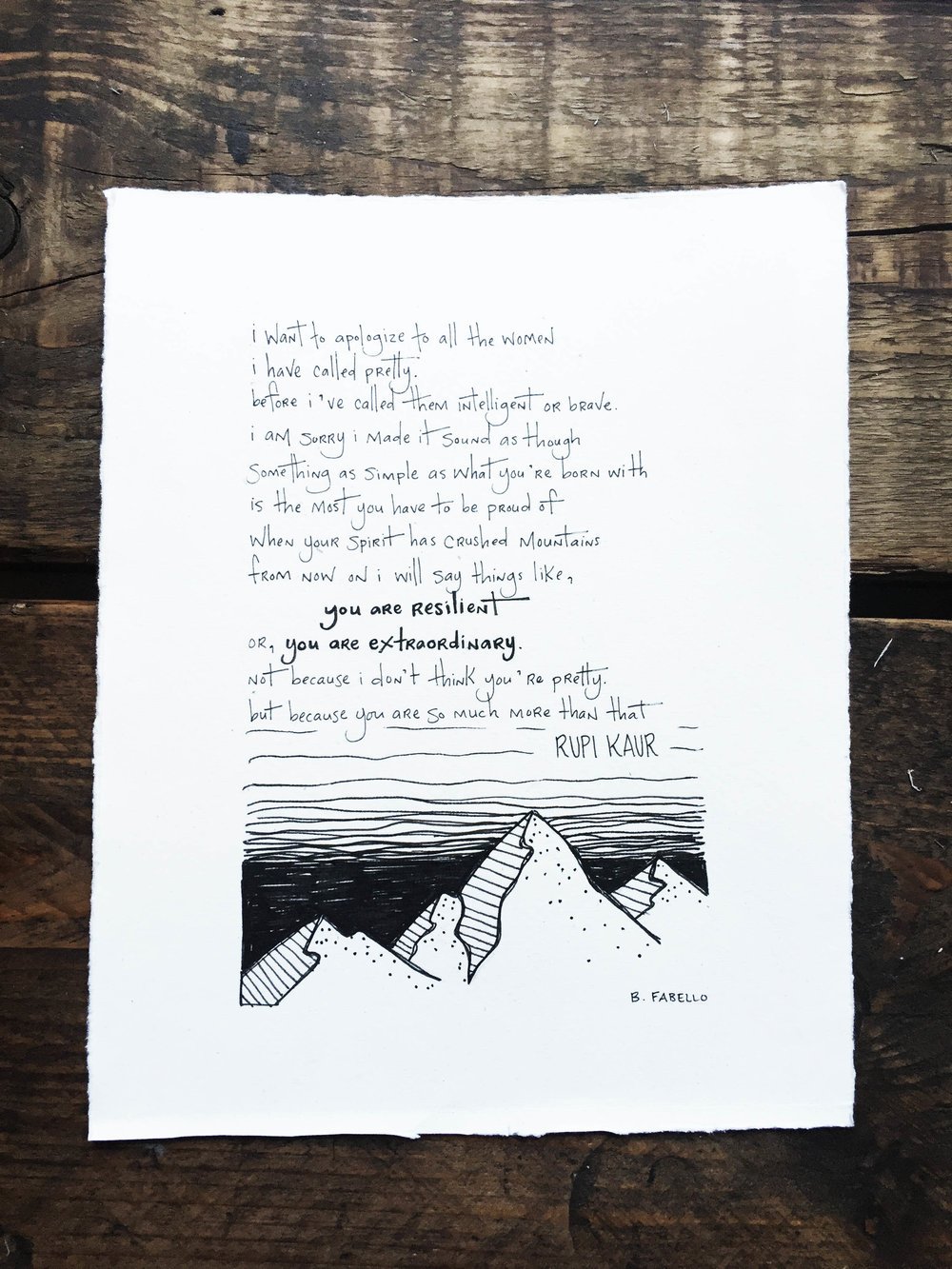 Custom Hand Lettering & Illustration: Rupi Kaur Poem | Sea of Atlas