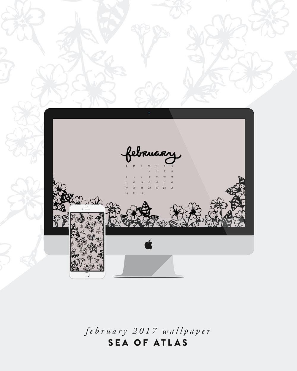 Desktop Wallpaper: February 2017 Calendar | Sea of Atlas
