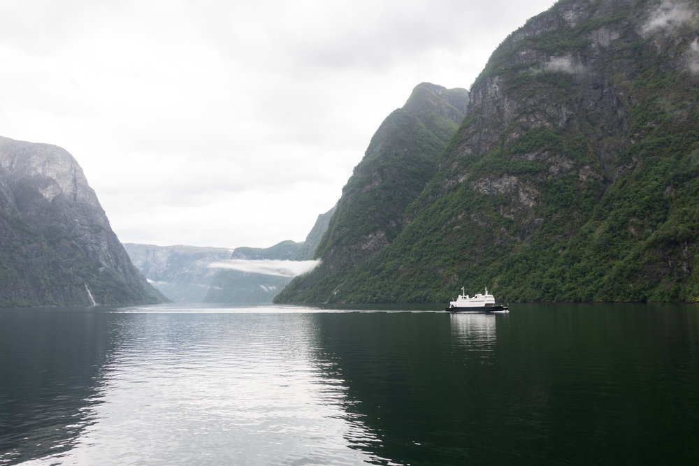 Ferry over Nærøyfjord and Aurlandsfjord to Flåm, Norway