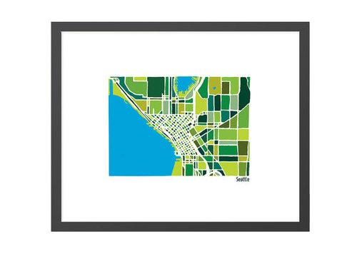 Seattle City Map illustration print richardedalton
