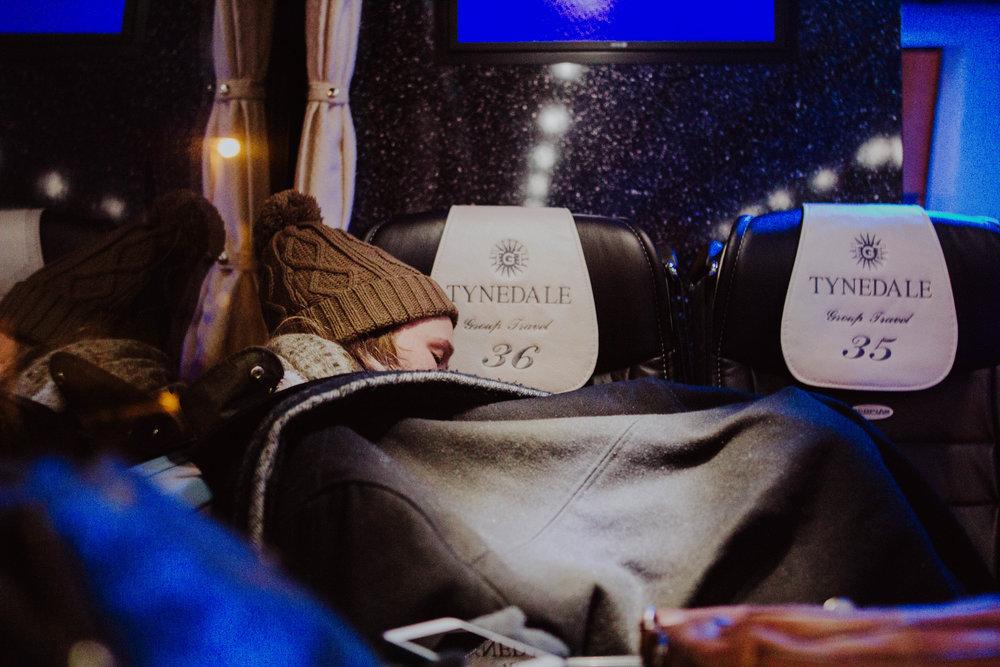 A sleepy Peyton on the way home.