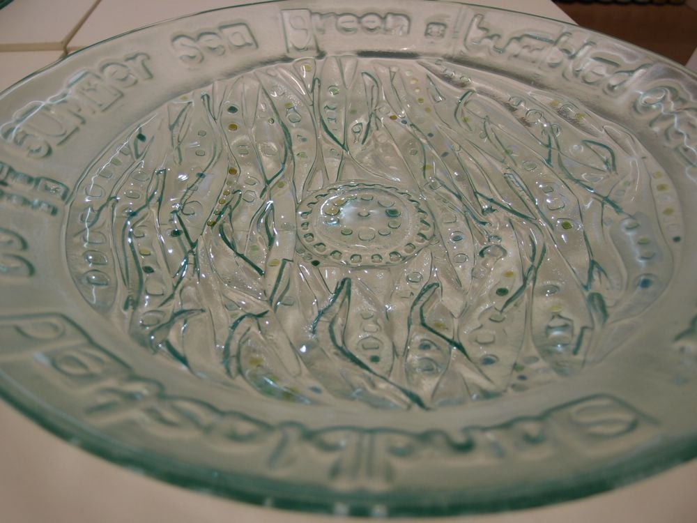 "Sea Glass bowl with Fiona Macrae's words  ""tumbled over and over, sand blasted to summer sea green"""