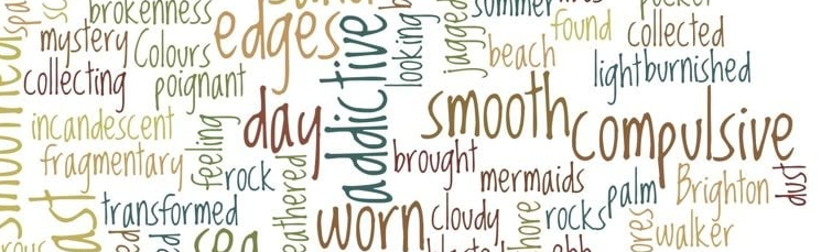 This word cloud includes words from everyone who donated sea glass associated words