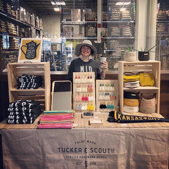 Come have a coffee or a tour @theroasterie!!! I'll be here until 3 for their Spring Makers Market.  #tuckerandscout #madeinkc #drinkcoffee
