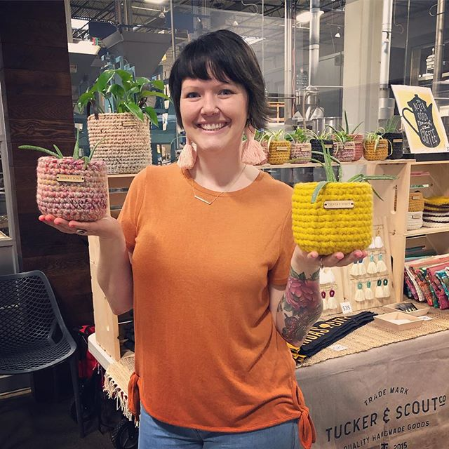Plant sweaters!!!! Sweater basket AND a plant. These cuties never seem to make it online because I sell out of them too quickly. Come snag one @theroasterie til 3 or send me a message. . . . #tuckerandscout #madeinkc #crochet #handmadeplanters #plantsweaters #plants #spring