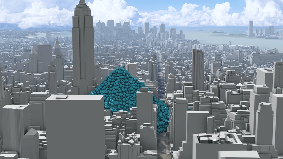 A single hour's emissions from New York City: 6,204 one-metric-ton spheres