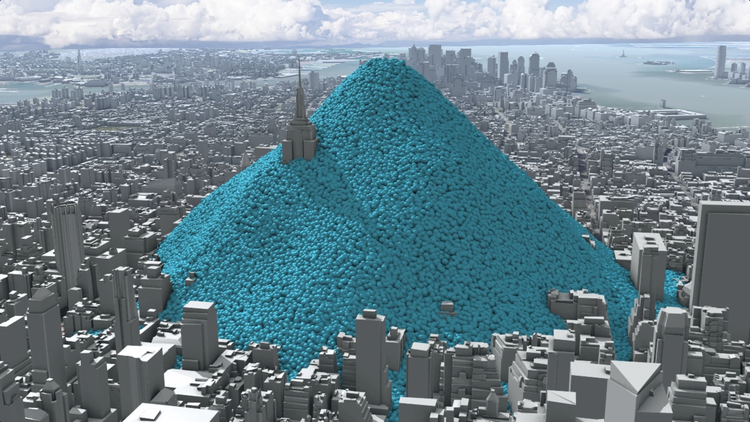 In 2010 New York City added 54 million metric tons of carbon dioxide (equivalent) to the atmosphere. This image shows the daily emissions - 148,903 tons a day