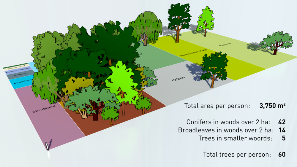 If we shared Britain's land, and trees, equally amongst its 63 million inhabitants this is what we'd each have.