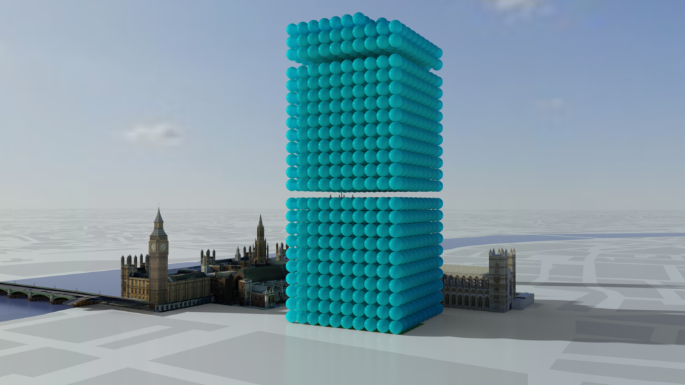What's the carbon saving from use of client's IT equipment?  2,278 tonnes as one-tonne spheres grouped into blocks of 1000.