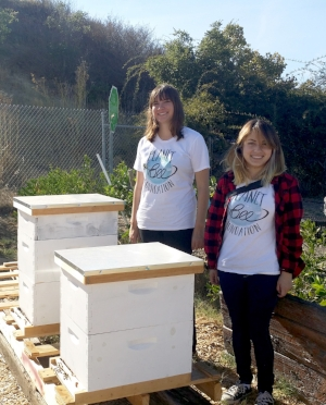 Planet Bee educators at Homeward Bound of Marin Beehives sponsored by EcoBee