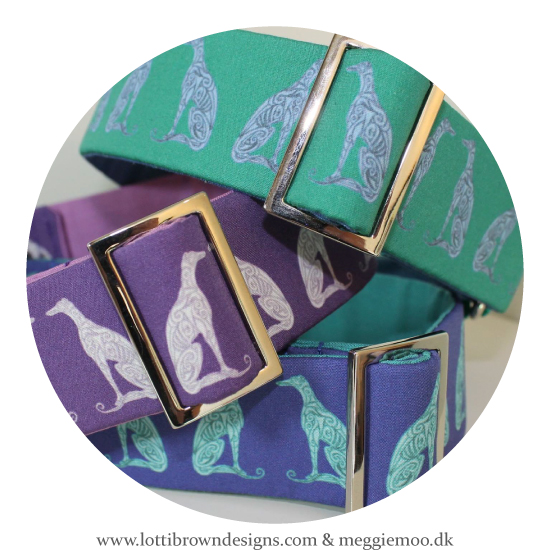 Some of MeggieMoo's collars made up with Lotti Brown fabric, in the 'Unique Hound' range of collars