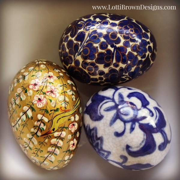 Beautiful blue and gold painted Easter eggs