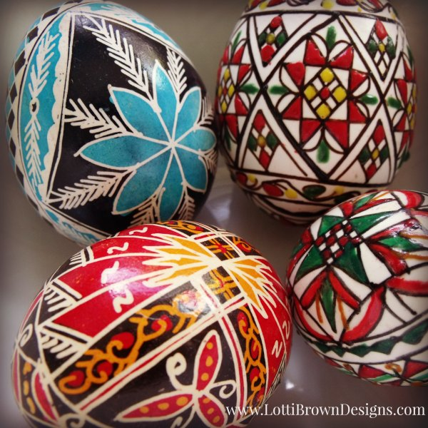 Intricate patterns on hand-painted real eggs, all the way from Romania