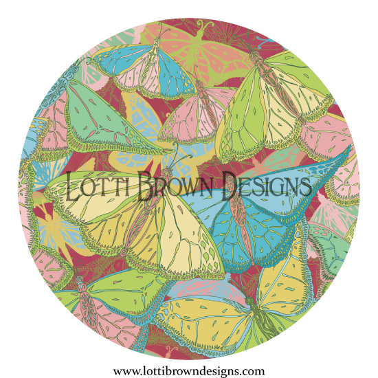 Tropical Butterflies surface pattern design by Lotti Brown