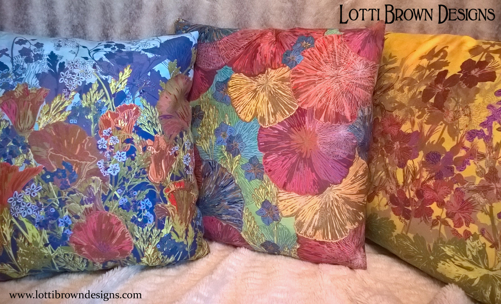 Designer throw pillows in glorious colour