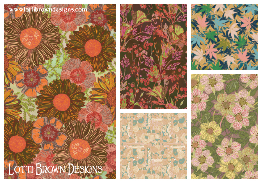 A selection of Lotti Brown prints available at SurfacePatternPrint