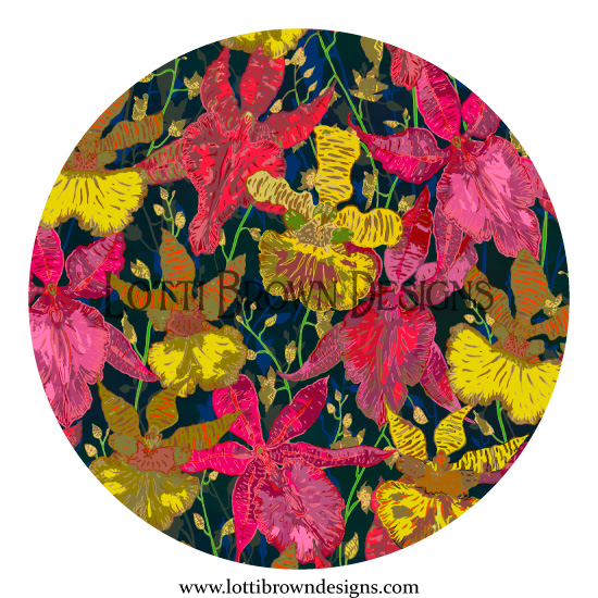 Tropical orchid floral pattern