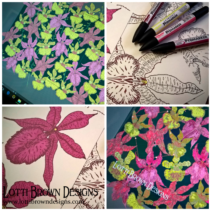 How some of my orchid drawings developed into the completed pattern