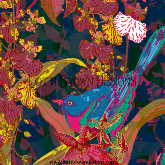 Detail from the main Tropical Birds pattern