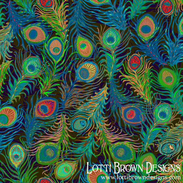 Groovy Peacock Feathers surface pattern design by Lotti Brown