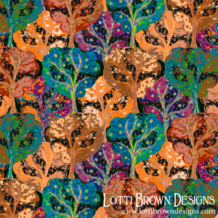 Groovy Trees retro-style pattern by Lotti Brown
